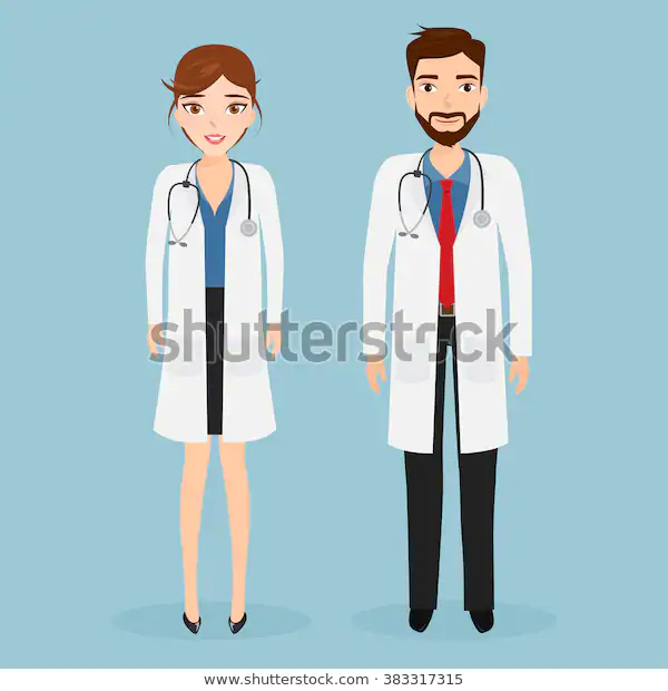 Woman Doctor Man Doctor Character Hospital Stock Vector Royalty Free 383317315 Man Character Female Doctor Comic Character