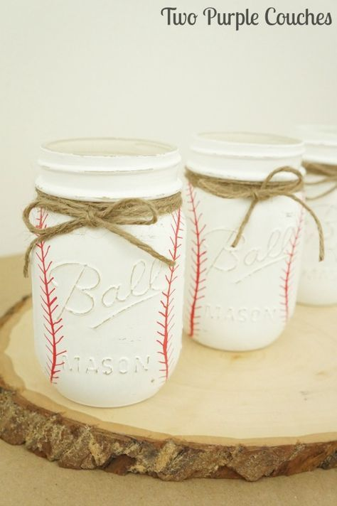 Photo of DIY Painted Baseball Mason Jars – two purple couches