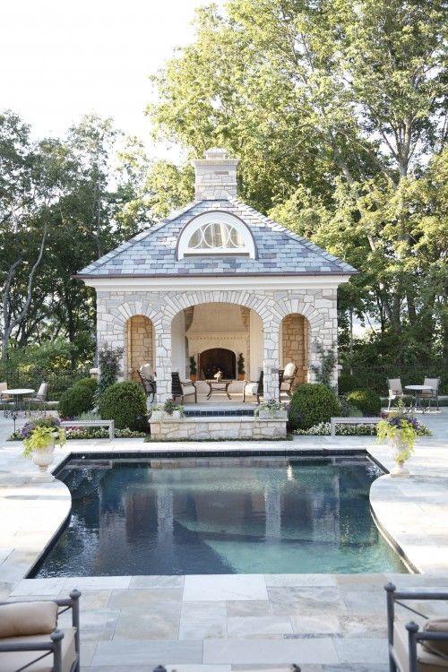Beautiful pool pavilion with fireplace near Nashville