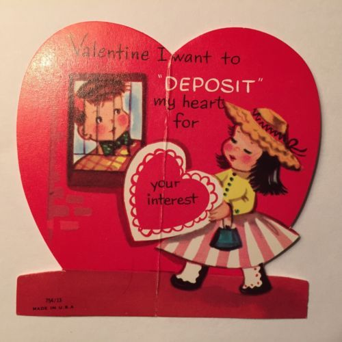 Vintage-BOY-GIRL-Valentine-Banker-DEPOSIT-my-heart-for-your-interest-Card-CUTE