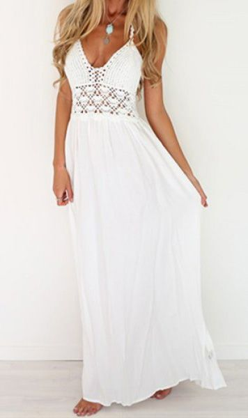 White Crochet Condole Belt Hollow Out Blackless V Neck Floor