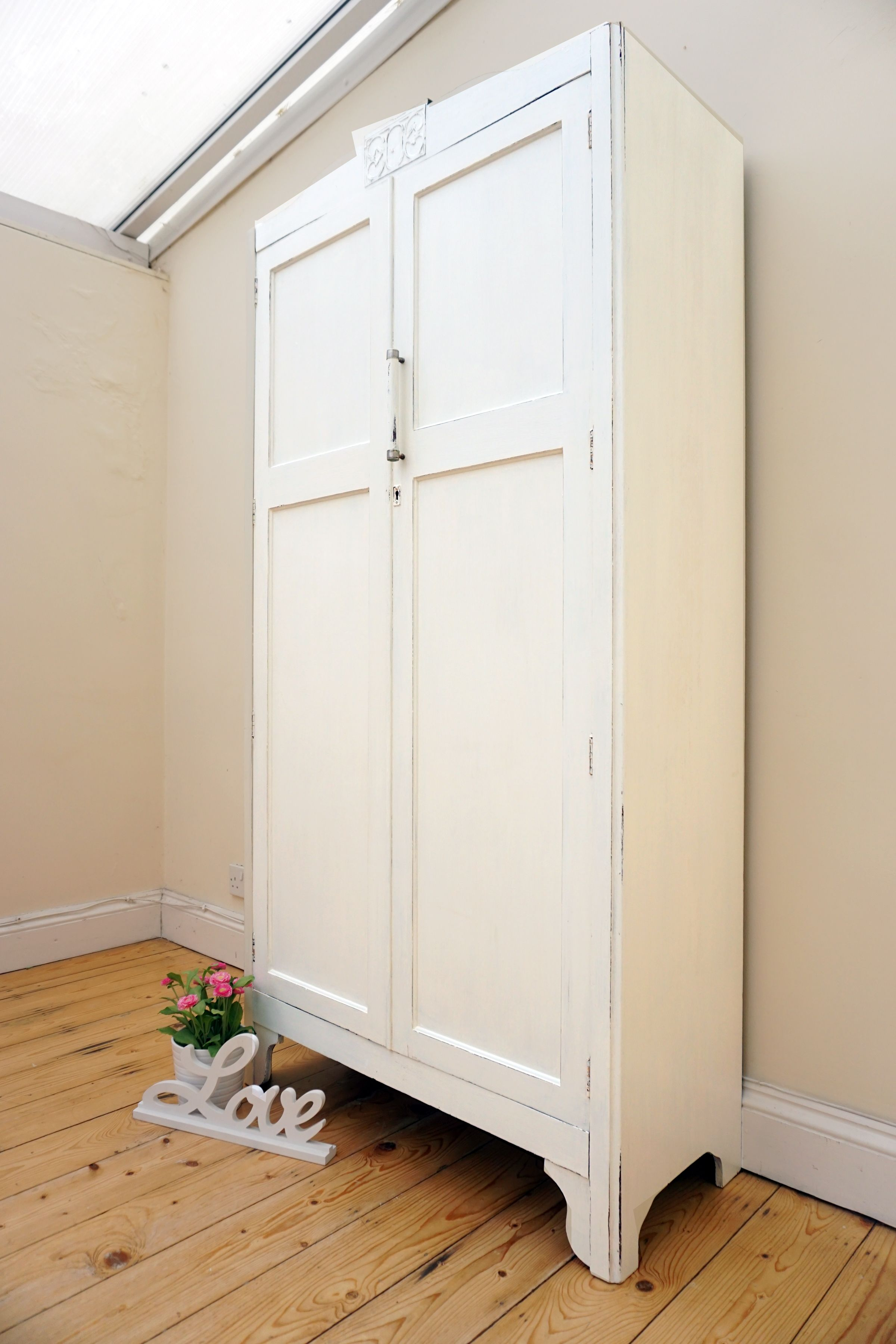 Antique oak wardrobe has been painted in Laura Ashley\'s eggshell ...