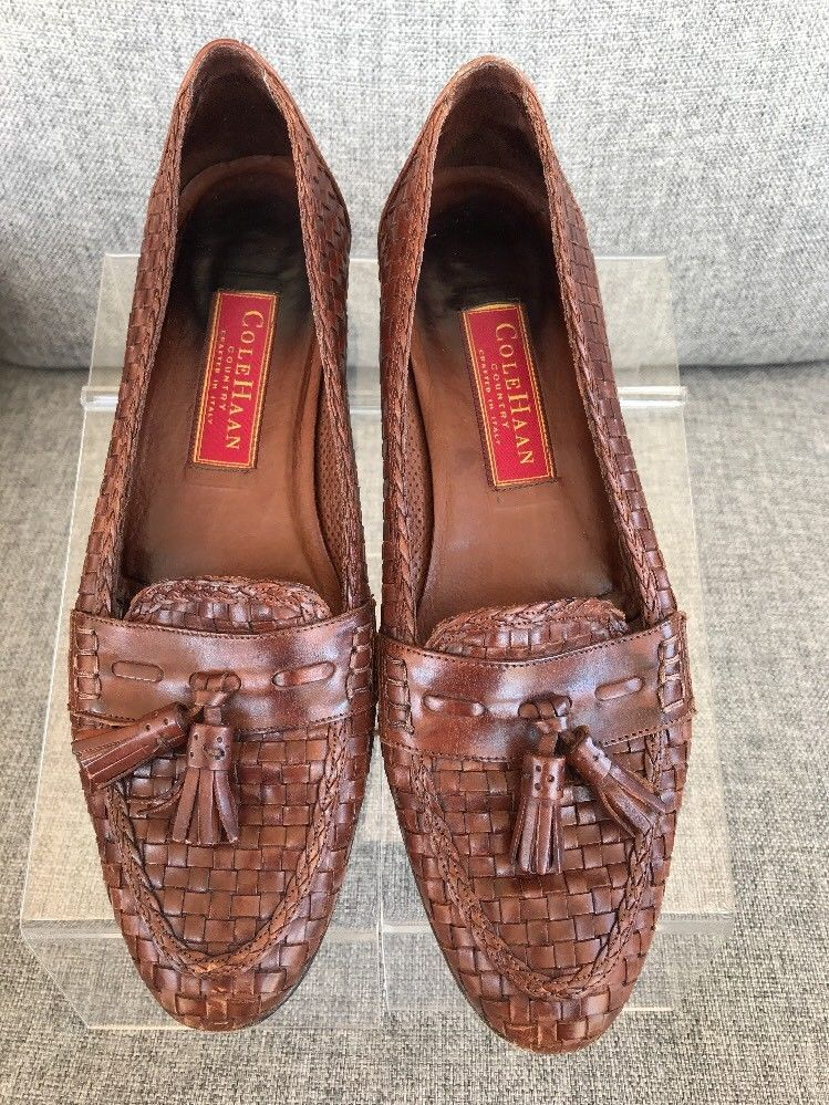 f22df93fa1e Cole Haan Women Basket Weave With Tassels Leather Loafers Size 8.5 AA Italy   ColeHaan  LoafersMoccasins