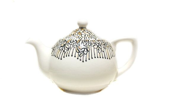 Ceramic Teapot hand painted for Serving Tea  by Dprintsclayful, $49.98