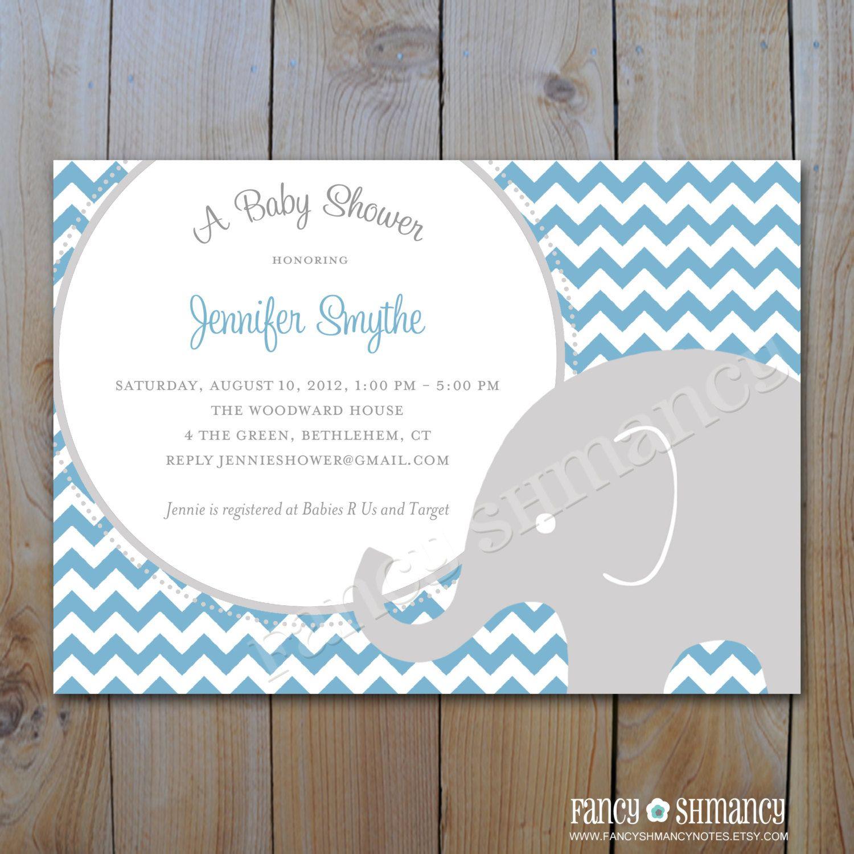 Elephant Baby Shower Invitation / Printable Blue and Grey Chevron ...