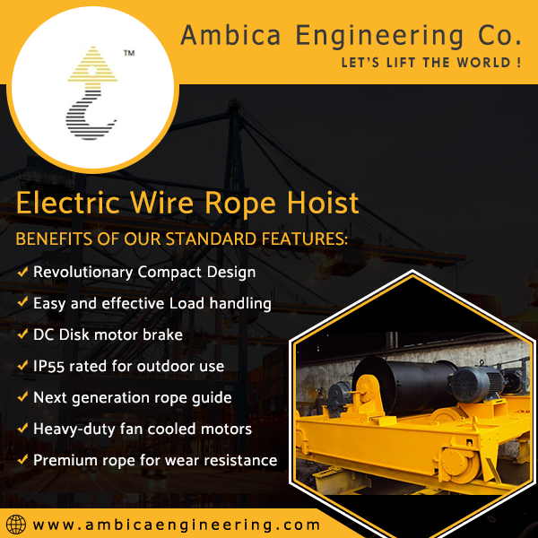 Electric wire rope hoist manufacturer & suppliers in Ahmedabad, India