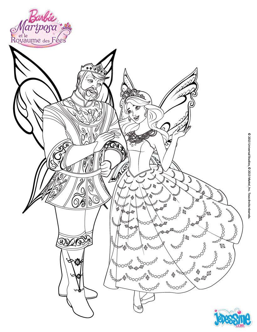 Ausmalbilder Barbie Feen : Colorie Barbie Mariposa Et Le Roi Du Royaume Des F Es Un Joli