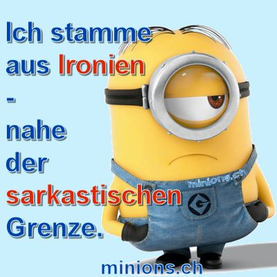 ich stamme aus ironien nahe der sarkastischen grenze zitaten pinterest minions. Black Bedroom Furniture Sets. Home Design Ideas