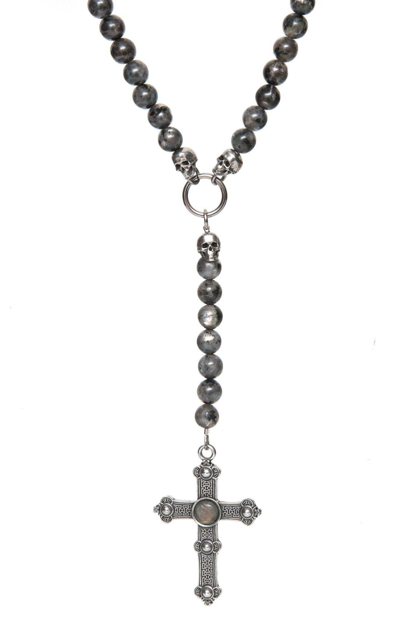 collier perle avec croix homme