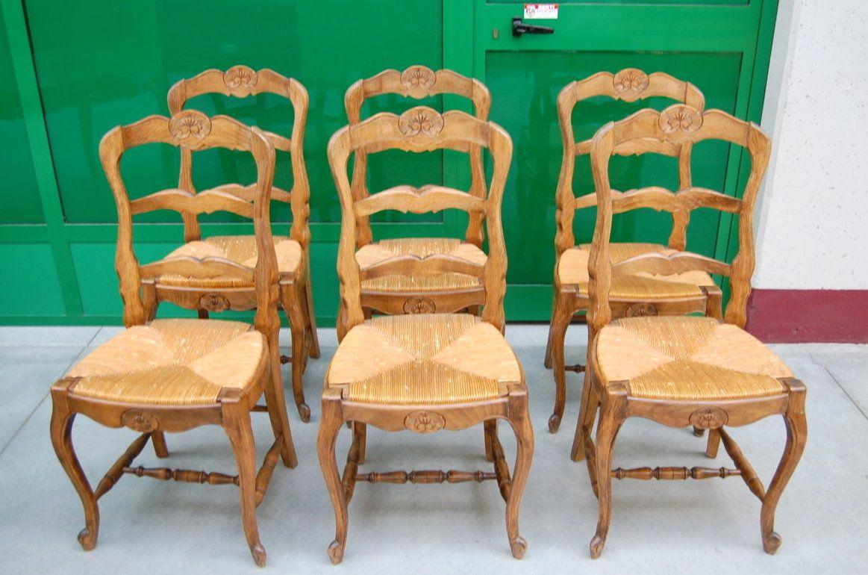 Sedie Francesi Provenzali : 6 sedie provenzali in faggio massello con conchiglia scolpita seduta