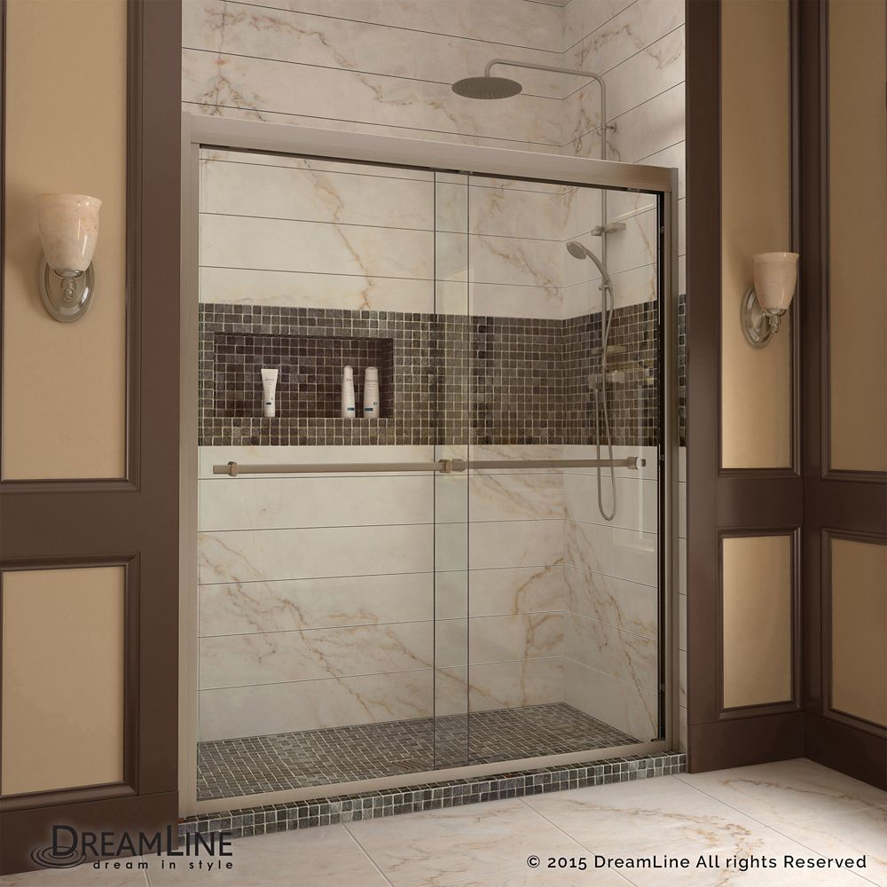 Duet 32 Inch D X 60 Inch W X 74 75 Inch H Framed Sliding Shower Door In Brushed Nickel With Right Drain White Acrylic Base Shower Doors Framed Shower Door Frameless Sliding Shower Doors