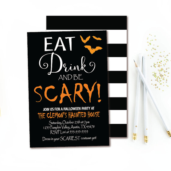 Halloween Party Eat Drink /& Be Scary 5x7 Chalkboard Halloween Invitation Double-sided Halloween Invite Printable Party Invitation
