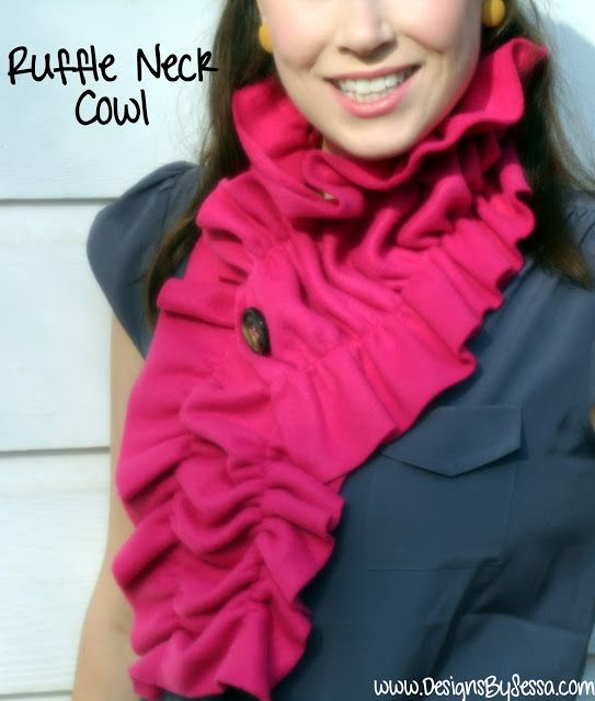Fleece Ruffle Neck Cowl Fleece Scarf Sewing Scarves Diy Scarf