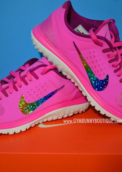 nike running shoes sparkly | Candy Pink Running NIKE Shoe With Rainbow  Glitter Tick by GLAM