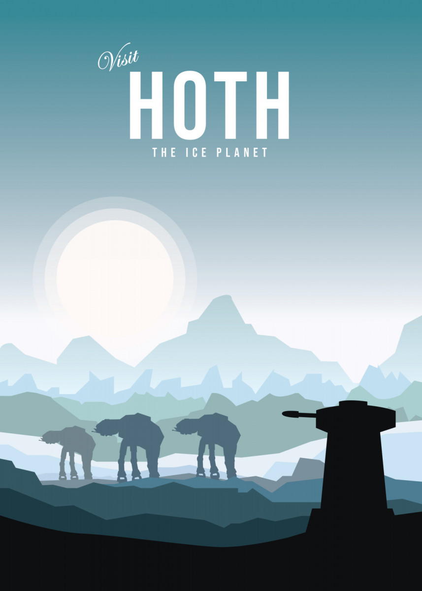 Visit Hoth the ice planet Minimalistic Poster Print | metal posters - Displate minimalist… | Displate thumbnail