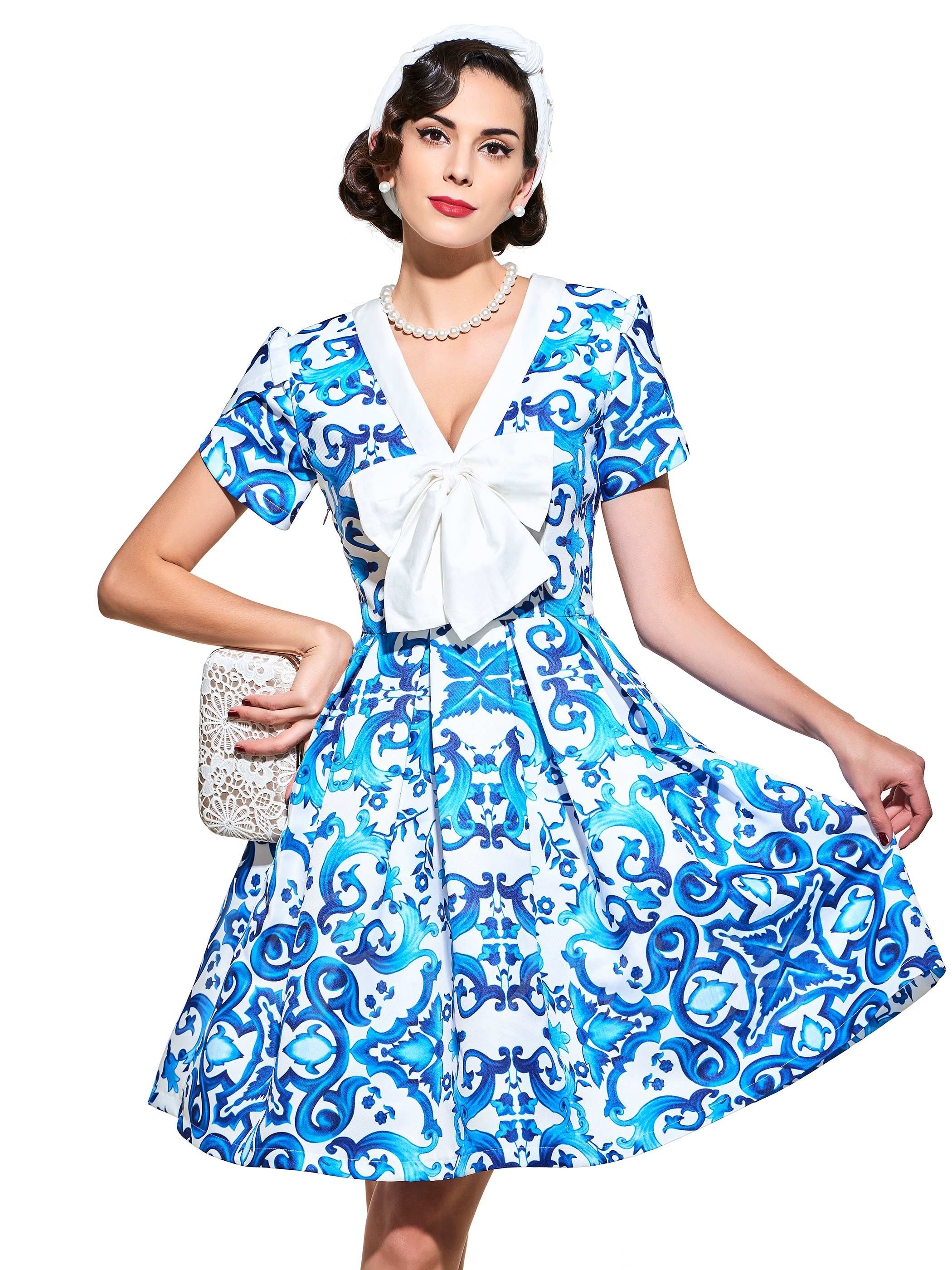 Printed Short Sleeve Bowknot Vintage Women\'s Day Dress | Short ...