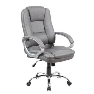 Executive Mid Back Grey Faux Leather Office Chair