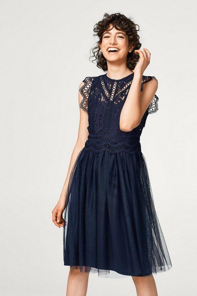 Esprit Collection Kleid aus floraler Spitze und Chiffon