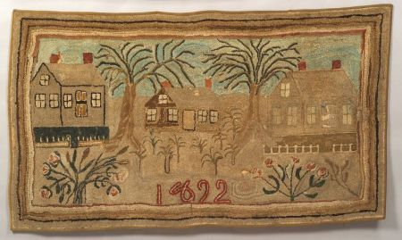 Pictorial Wool Hooked Rug with Houses | Sale Number 2255, Lot Number 62 | Skinner Auctioneers