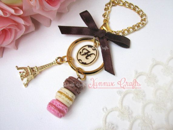 Neapolitan french macaron bag charm, milk and dark chocolate monogram keychain,Tour eiffel, bag chain, lobster clasp, key ring, ribbon.