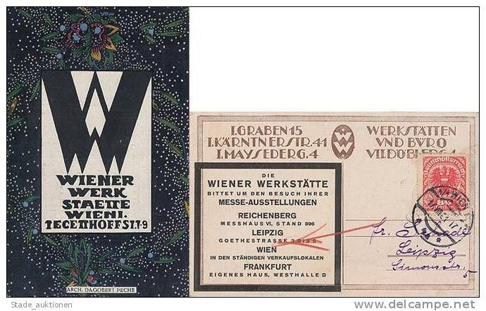 Wiener Werkstätte Werbekarte mit Werbezudruck auf der Rückseite I- R ...