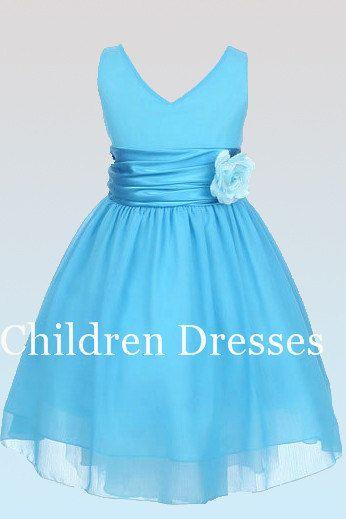 Light blue bow belt Vneck flower girl dresses Kids by CDYshop ...