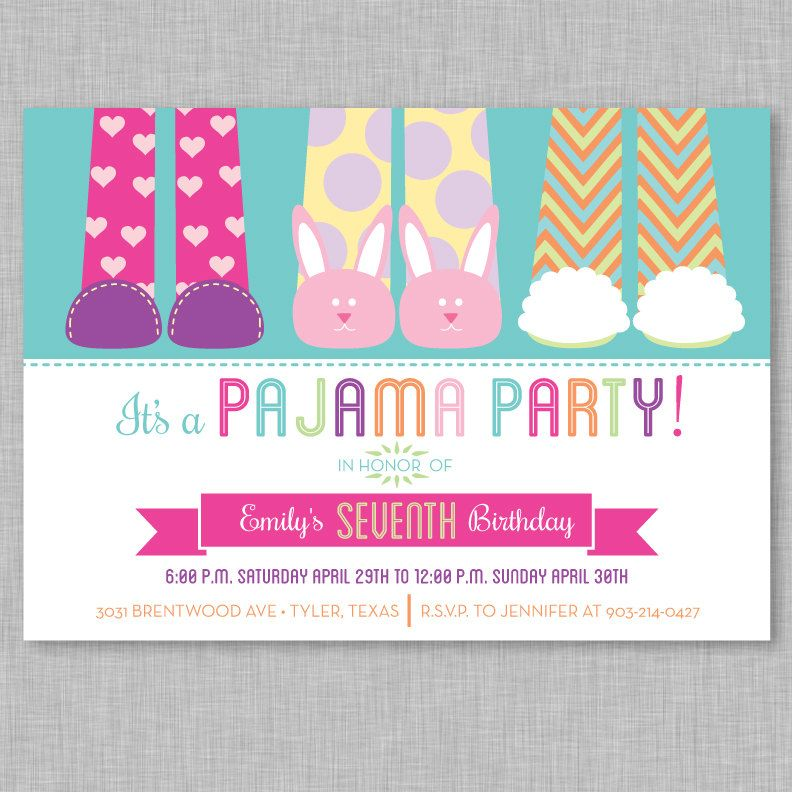 pajama party invitation slumber party by papercrazedesigns on etsy, Party invitations