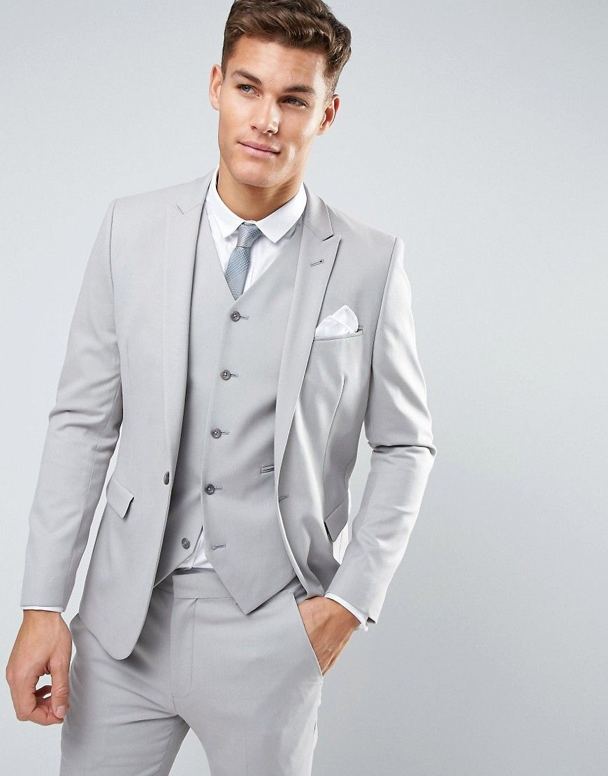 ASOS Skinny Suit Jacket In Ice Gray Gray | Light grey