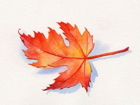 AUTUMN LEAF 3 watercolor still life painting, painting by ...