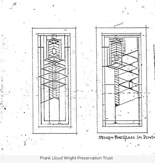 Frank Lloyd Wright Graphic Designs: Frank Lloyd Wright Robie House Glass Sketch