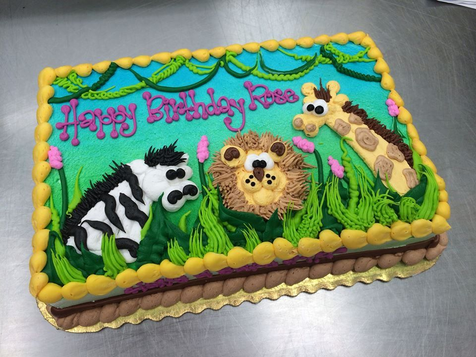 Outstanding Jungle Baby Shower Sheet Cake By Stephanie Dillon Ls1 Hy Vee Funny Birthday Cards Online Fluifree Goldxyz
