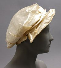 Wedding Bonnet, Made in United States, North and Central America, 1816. Artist/maker unknown, American. White satin and lace. Philadelphia Museum of Art. (It appears that the inside lining of the hat has been turned out in this image - gives us an idea of the construction!)
