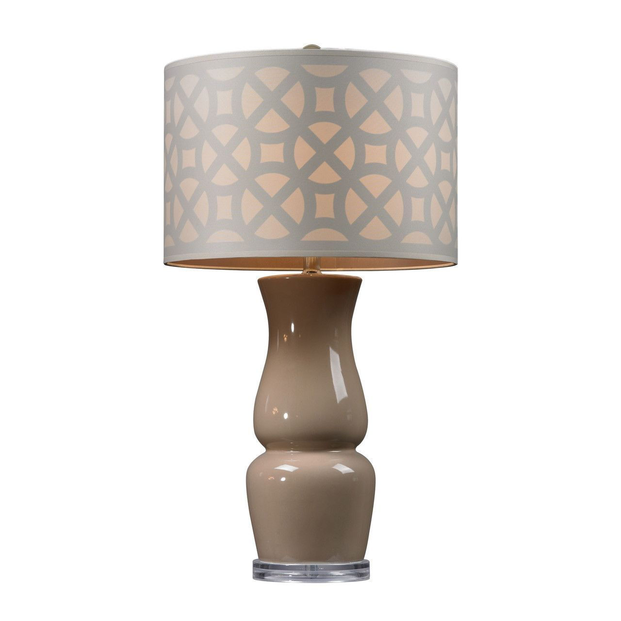 Gloss Ceramic Table Lamp in Taupe With Off White Shade D158