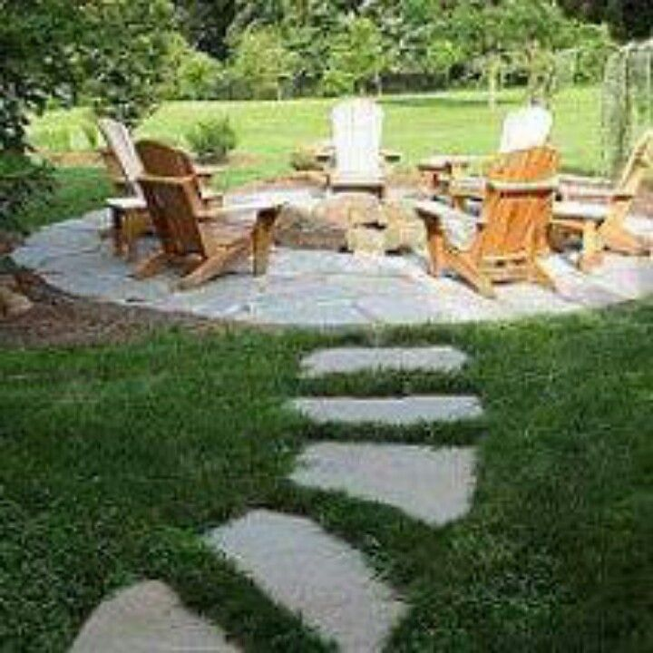 Idea For Grass Stone Path Leading To Firepit Backyard Fire Fire