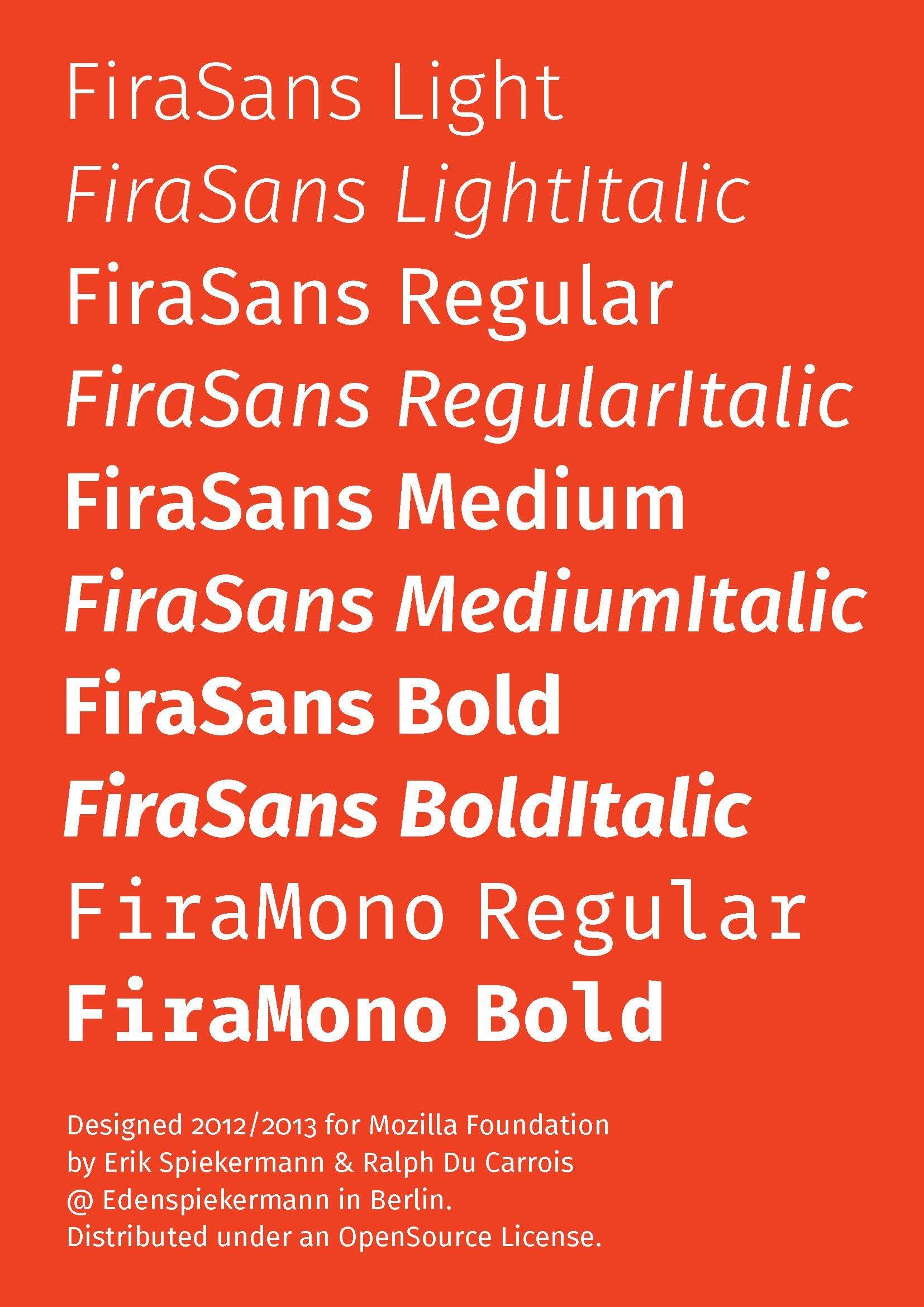 Firefox OS Typeface by spiekermann com: Fira specimen free