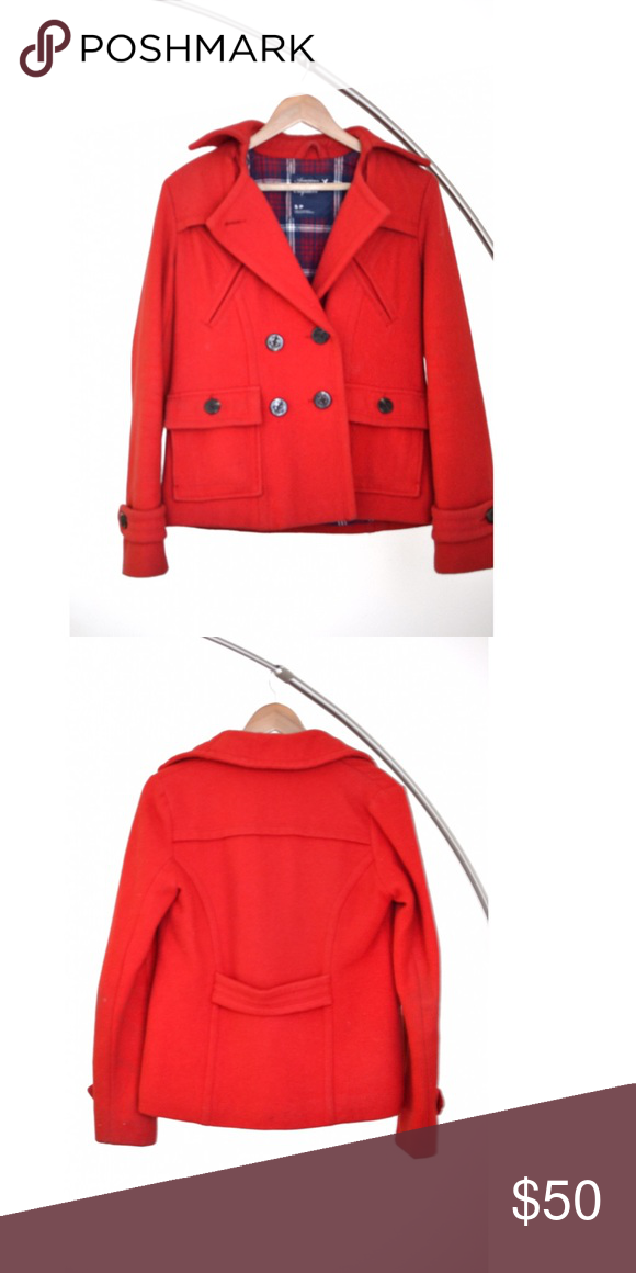 Red Wool Jacket. Red wool jacket with front pockets. Interior flannel fabric. Very warm. Excellent condition. Length stops at hips. Great for layering in the winter. Comment if you have any questions! ☺️ American Eagle Outfitters Jackets & Coats Pea Coats