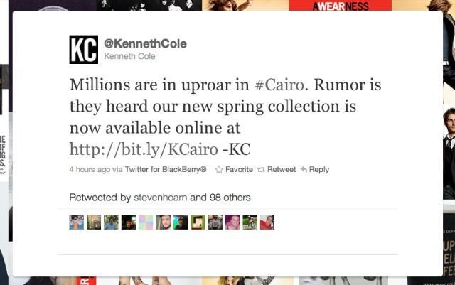 Kenneth Cole S Cairo Tweet Angers The Internet Kenneth Cole Kenneth Cole