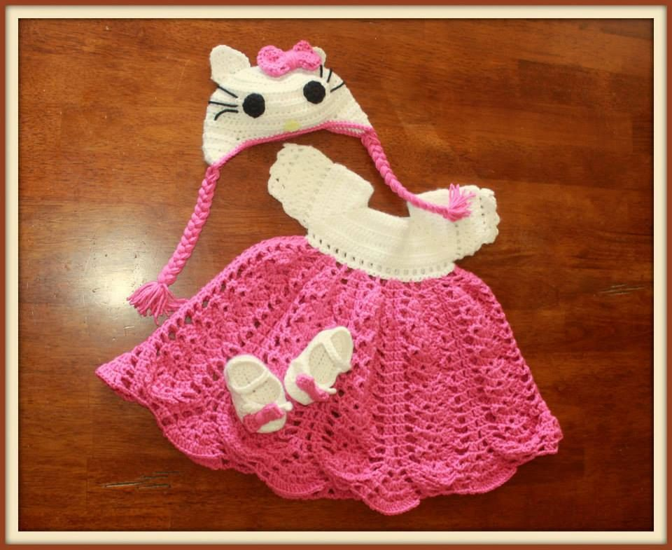 53f4b1946 Hello Kitty Dress, Mary Jane shoes, Hello Kitty hat, Crochet baby dress,  Pink and White Hello Kitty - pinned by pin4etsy.com