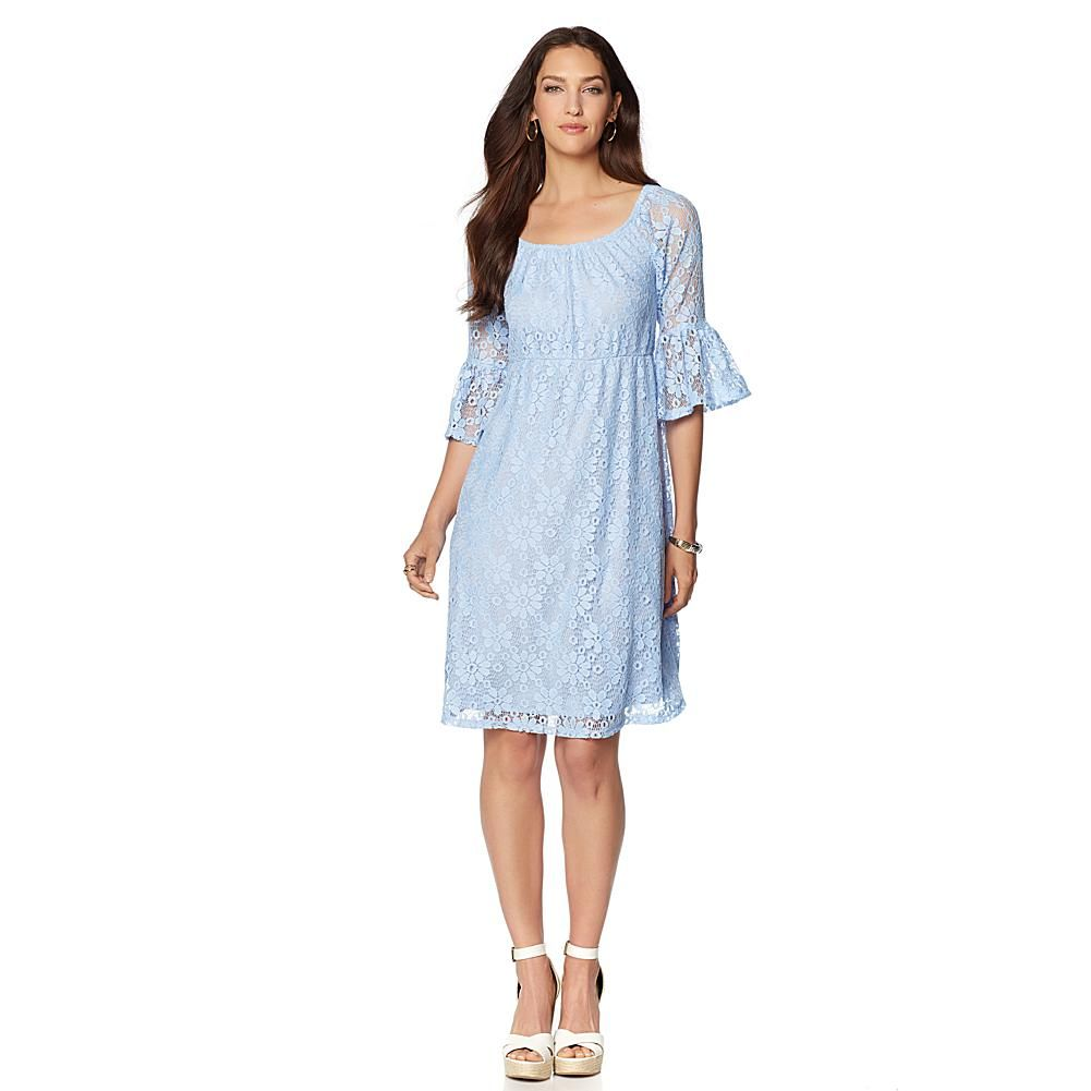 Slinky® Brand On-Off Shoulder Lace Dress with Empire Waist - Blue