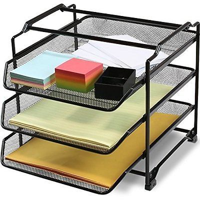 Office File Paper Tray 3 Tier Desk Organizer Letter Holder Storage Stand Black