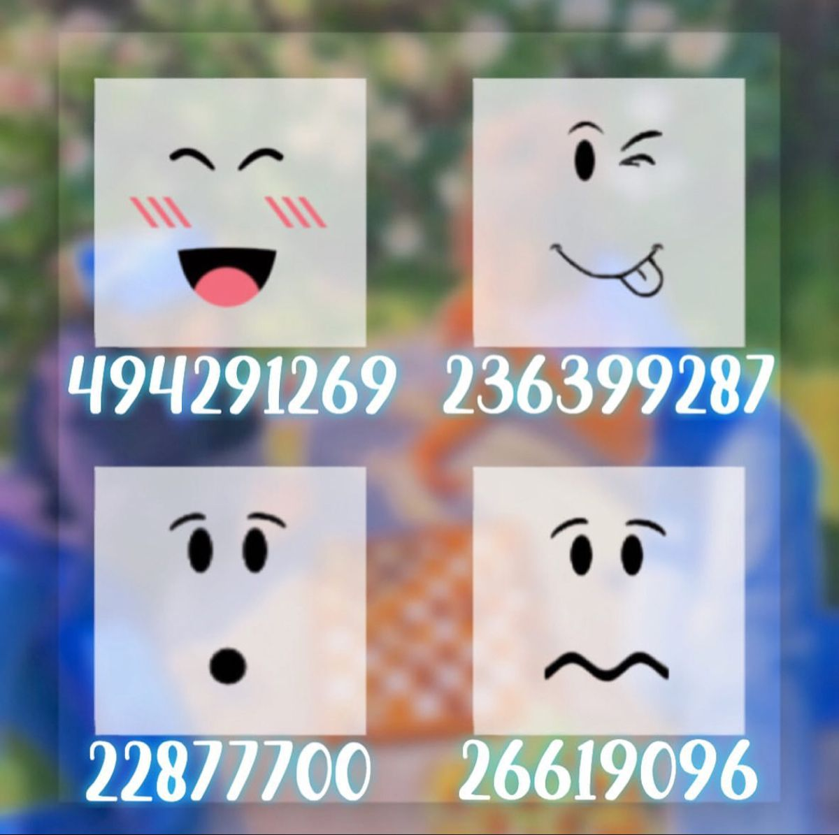 Aesthetic Face s Bloxburg decal codes Custom decals Free gift