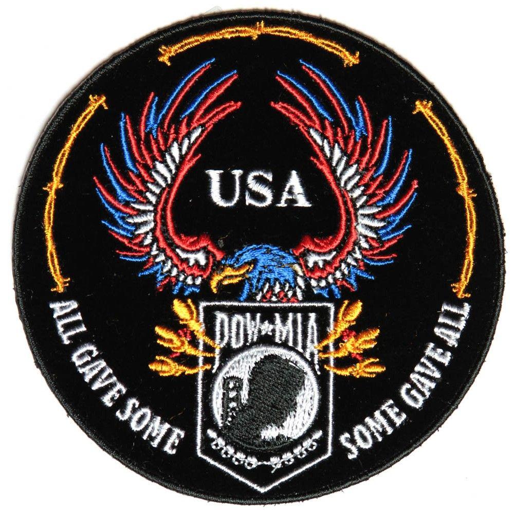 POW MIA Eagle Never Abandon Vetaran Embroidered Biker Patch