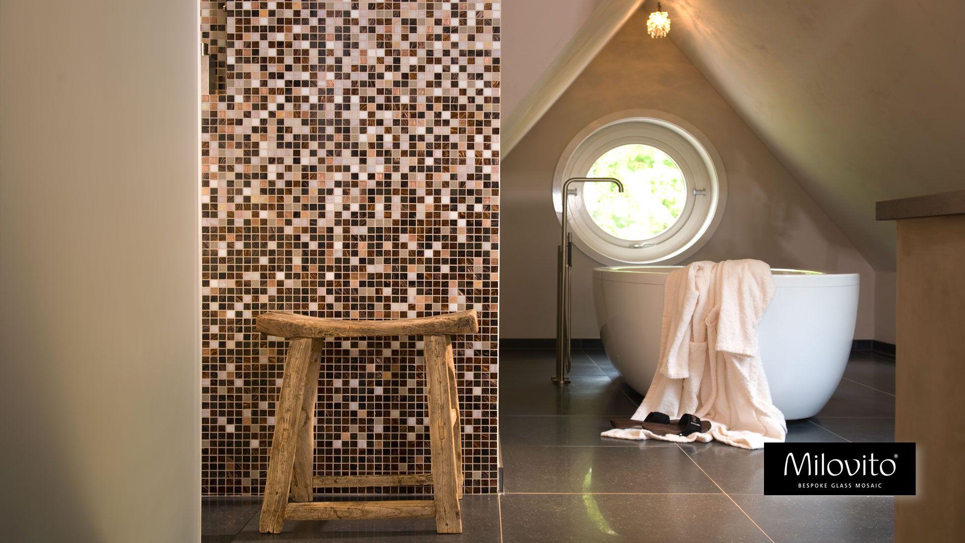 Glas Mozaiek Tegels : Mozaiek tegels badkamer bruin beige glasmozaiek mozaïek
