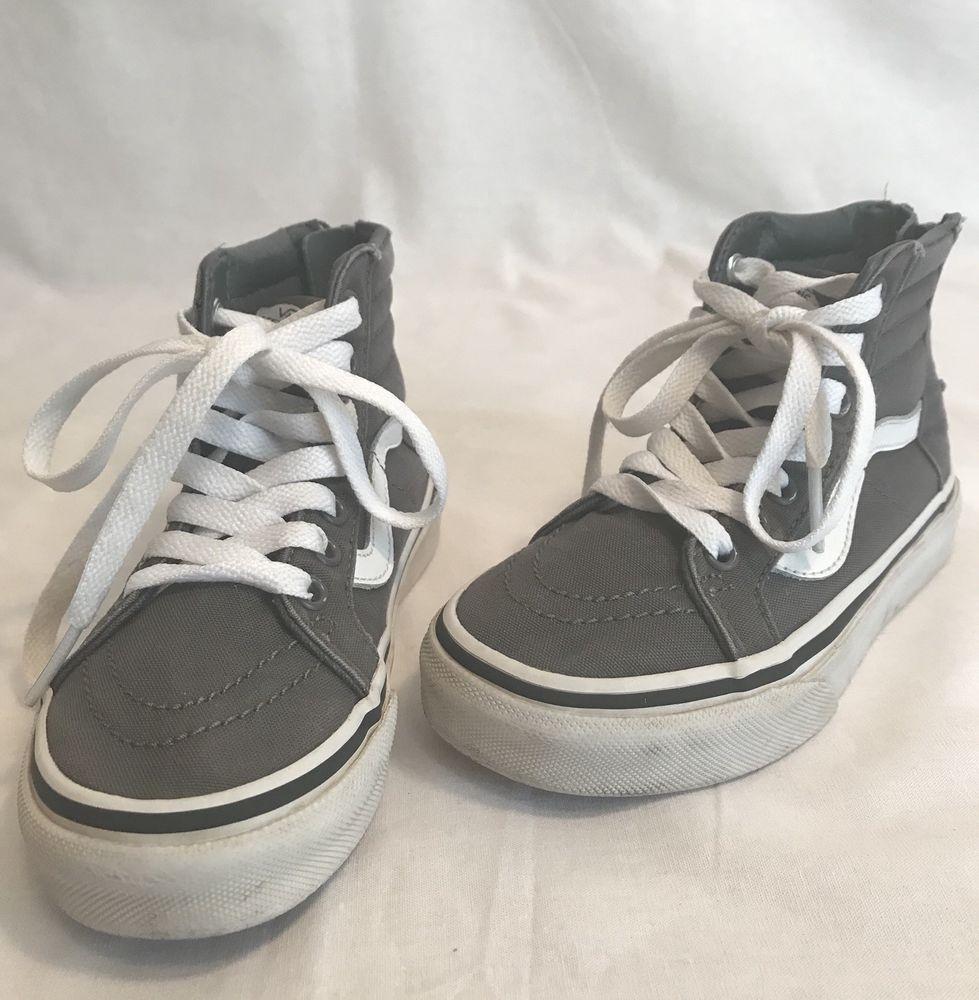 51c00b08767 Vans Off The Wall Grey High Top Zip Up Lil Kids Size 12 1 2