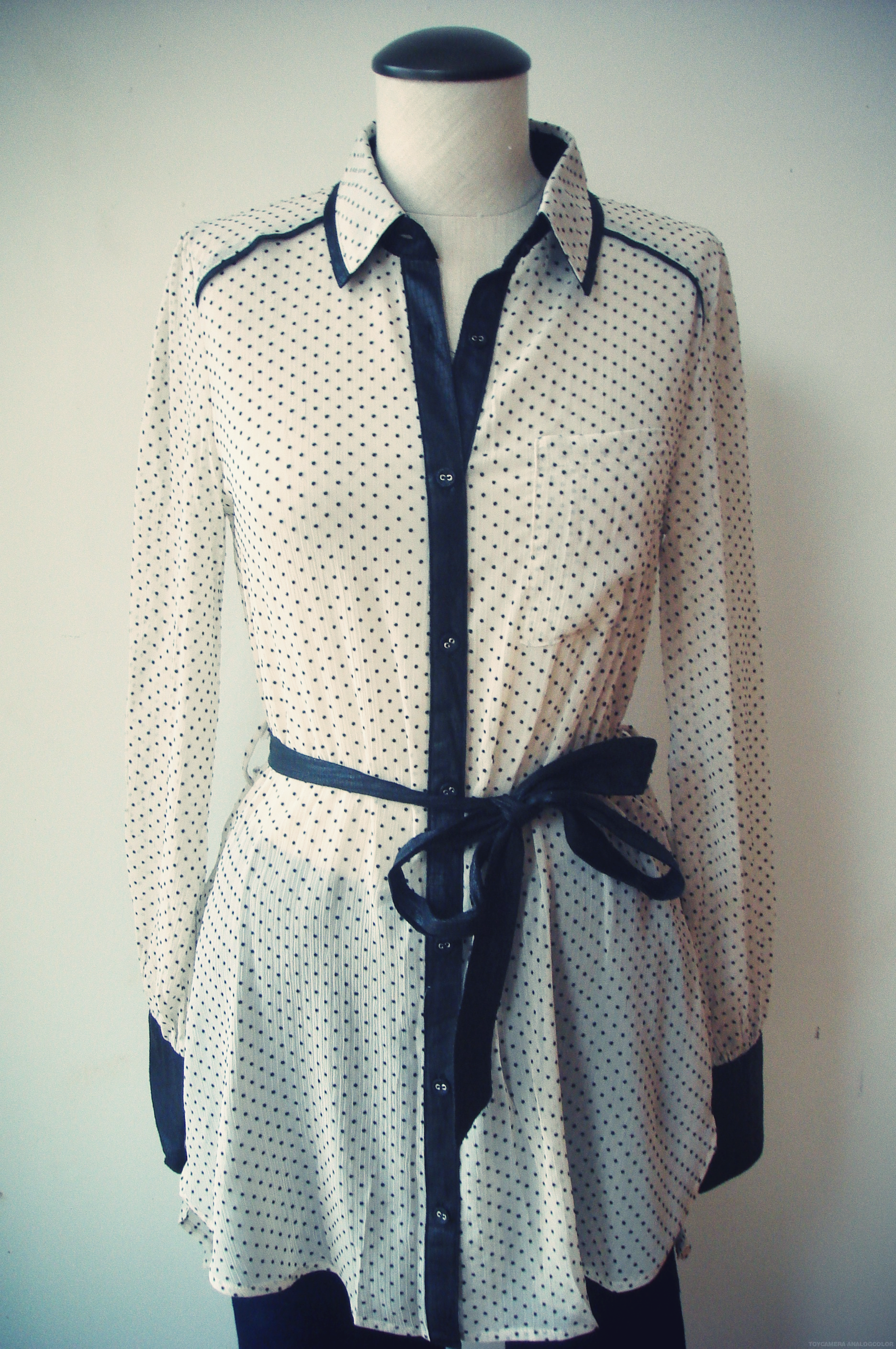 Black And White Sheer Button Down
