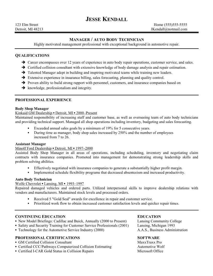 Technician Resume Automotive Technician Resume Skills  Httpwwwresumecareer