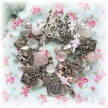 Vintage Style Ballerina Dancer Heart Charm Bracelet Glass Beads~~~SO beautiful!!!