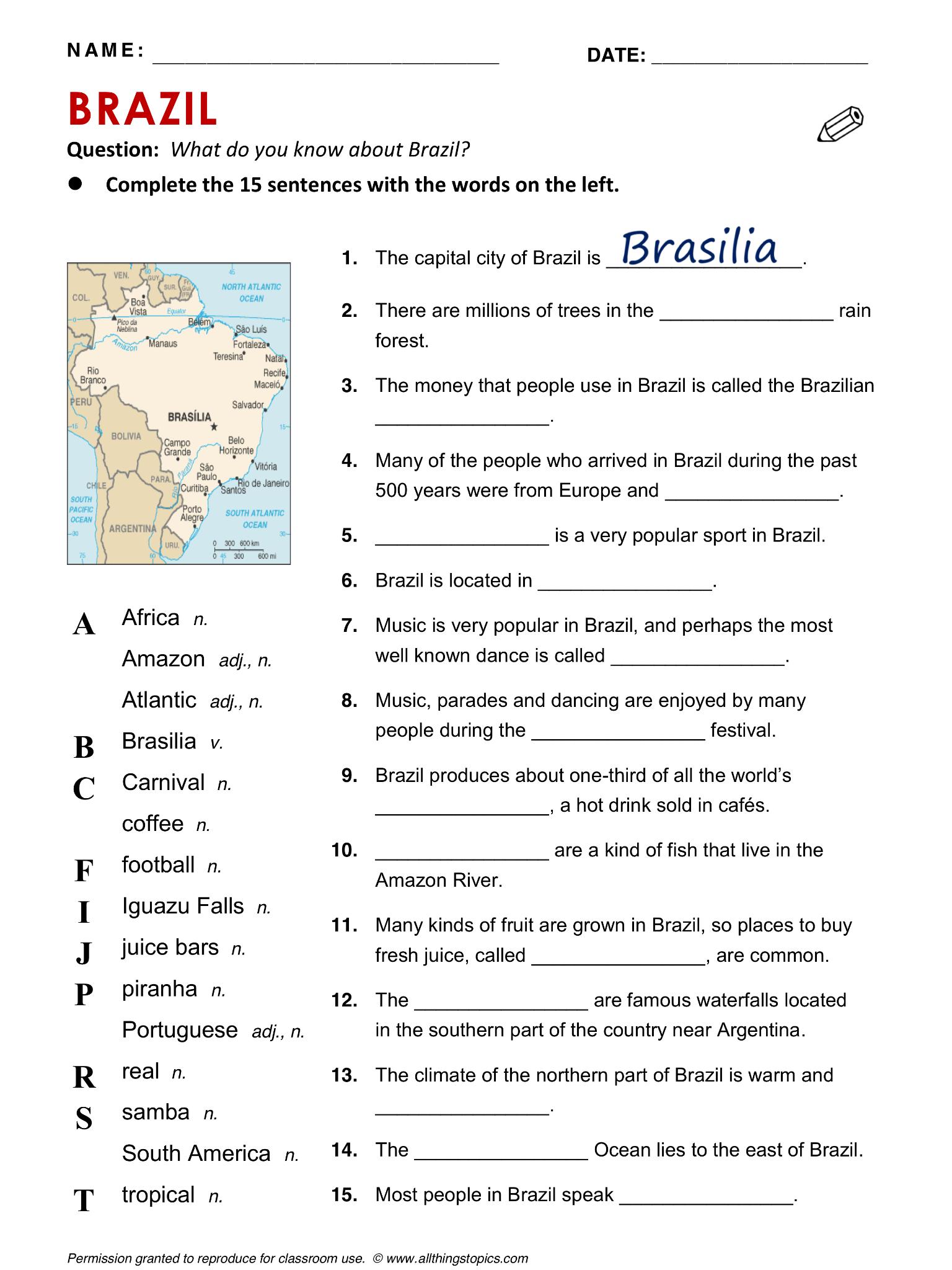 Brazil English Learning English Vocabulary Esl