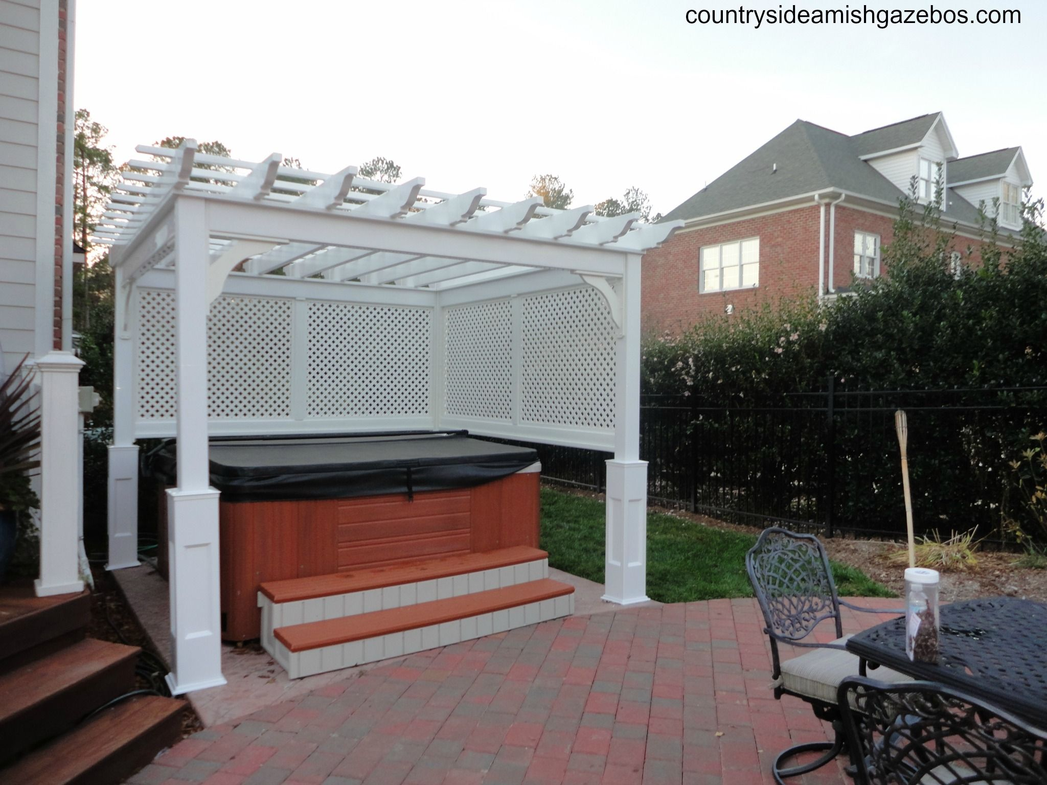 10x10 Vinyl Pergola Half Wall Lattice Vinyl Pergola Pergola Patio Design