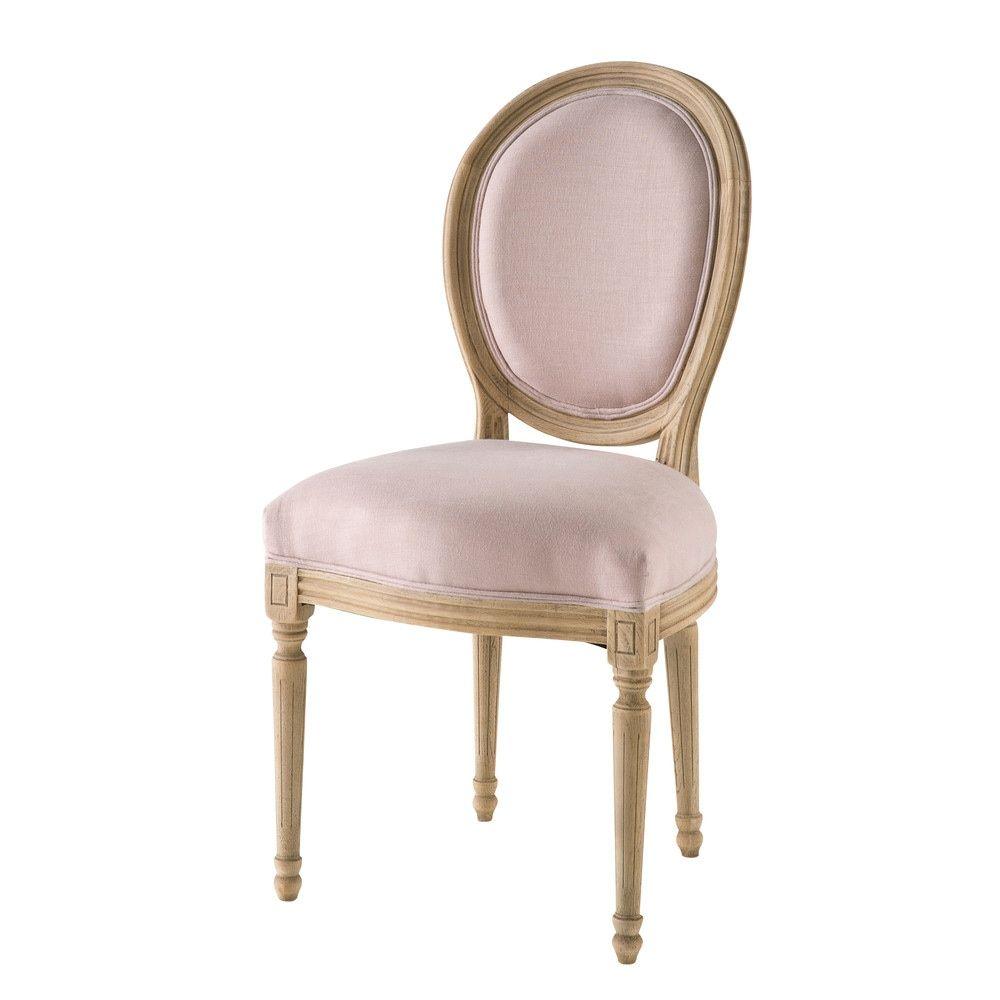 Chaise Medaillon En Lin Lave Rose Poudre Maisons Du Monde Esszimmerstuhle Kuche Esszimmer Stuhle